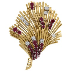 Tiffany & Co. Mid-20th Century Ruby Diamond and Gold Brooch