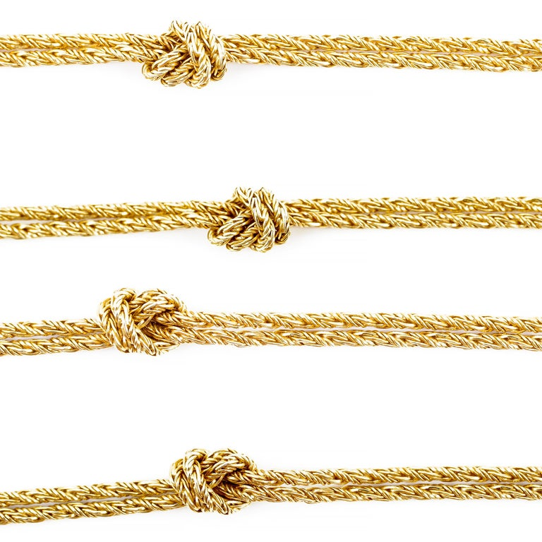 I first encountered this necklace on my mother's German friend, Ingrid. I will never forget seeing it against her black cotton turtleneck, where it appeared she'd taken a gold necklace and tied overhand knots every few inches. I thought she was a