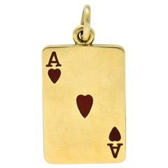 Tiffany & Co. Midcentury Enamel 14 Karat Gold Ace of Hearts Card Charm
