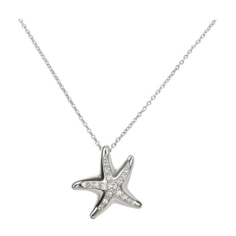 Tiffany & Co. Mini-Mini Starfish Diamond Pendant in Platinum 0.13 Carat For Sale