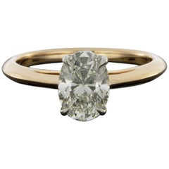 Tiffany & Co. Mixed Metals 1.26 Carat Oval Diamond Solitaire Engagement Ring