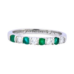 Tiffany & Co. Modern 0.24 Carat Diamond Emerald Platinum Anniversary Band Ring