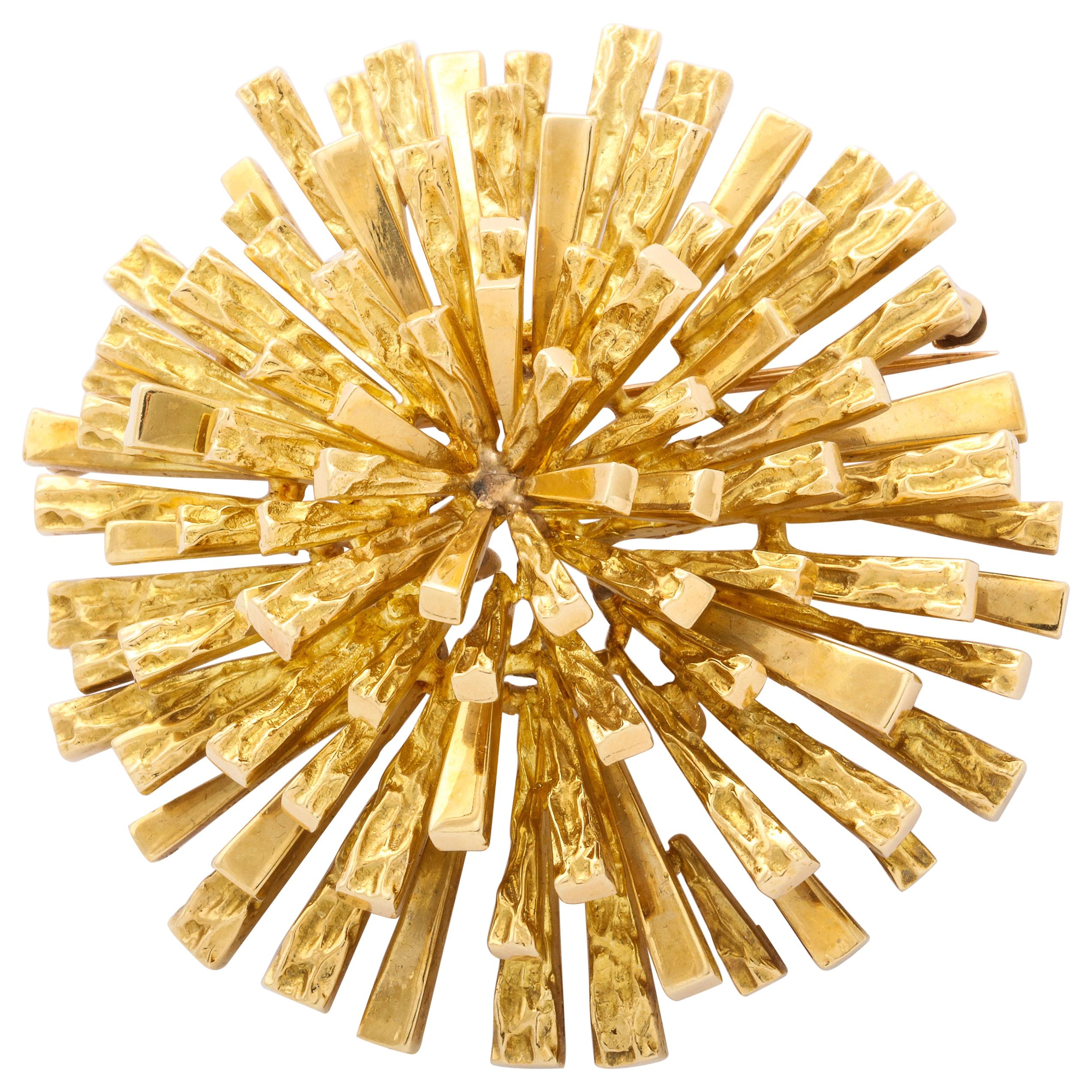 Tiffany & Co. Modernist Sunburst Gold Pendant Brooch