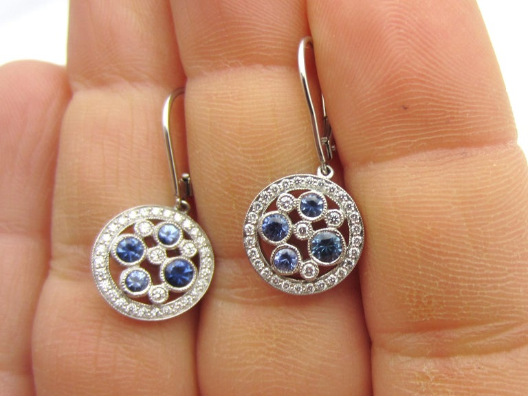 bc1dbd034 Tiffany & Co. Montana Sapphire Cobblestone Earrings In Excellent Condition  For Sale In Manchester,