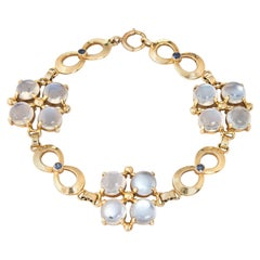 Tiffany & Co. Moonstone Sapphire Bracelet Retro Vintage 14 Karat Gold Signed