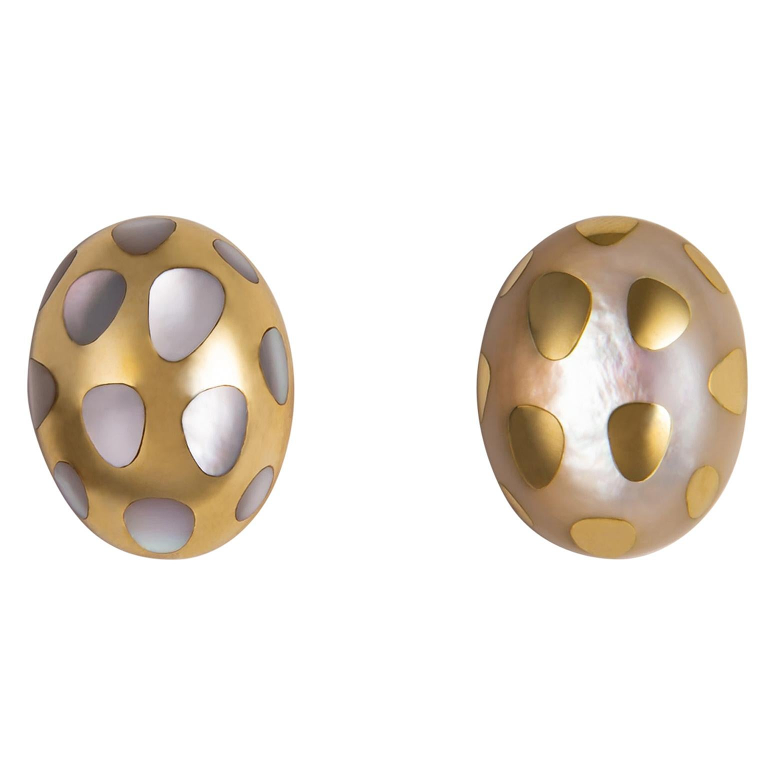 Tiffany & Co. Mother of Pearl and Gold Polka Dot Earrings