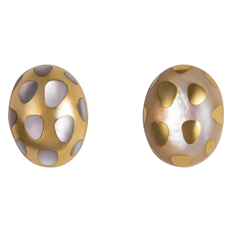 Tiffany & Co. Mother of Pearl and Gold Polka Dot Earrings For Sale