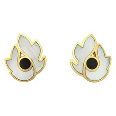 Tiffany & Co. Mother of Pearl and Onyx Feather Motif Earrings