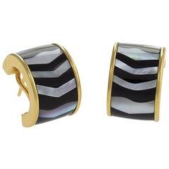 Tiffany & Co. Mother-of-Pearl Black Jade and Gold Hoop Earrings