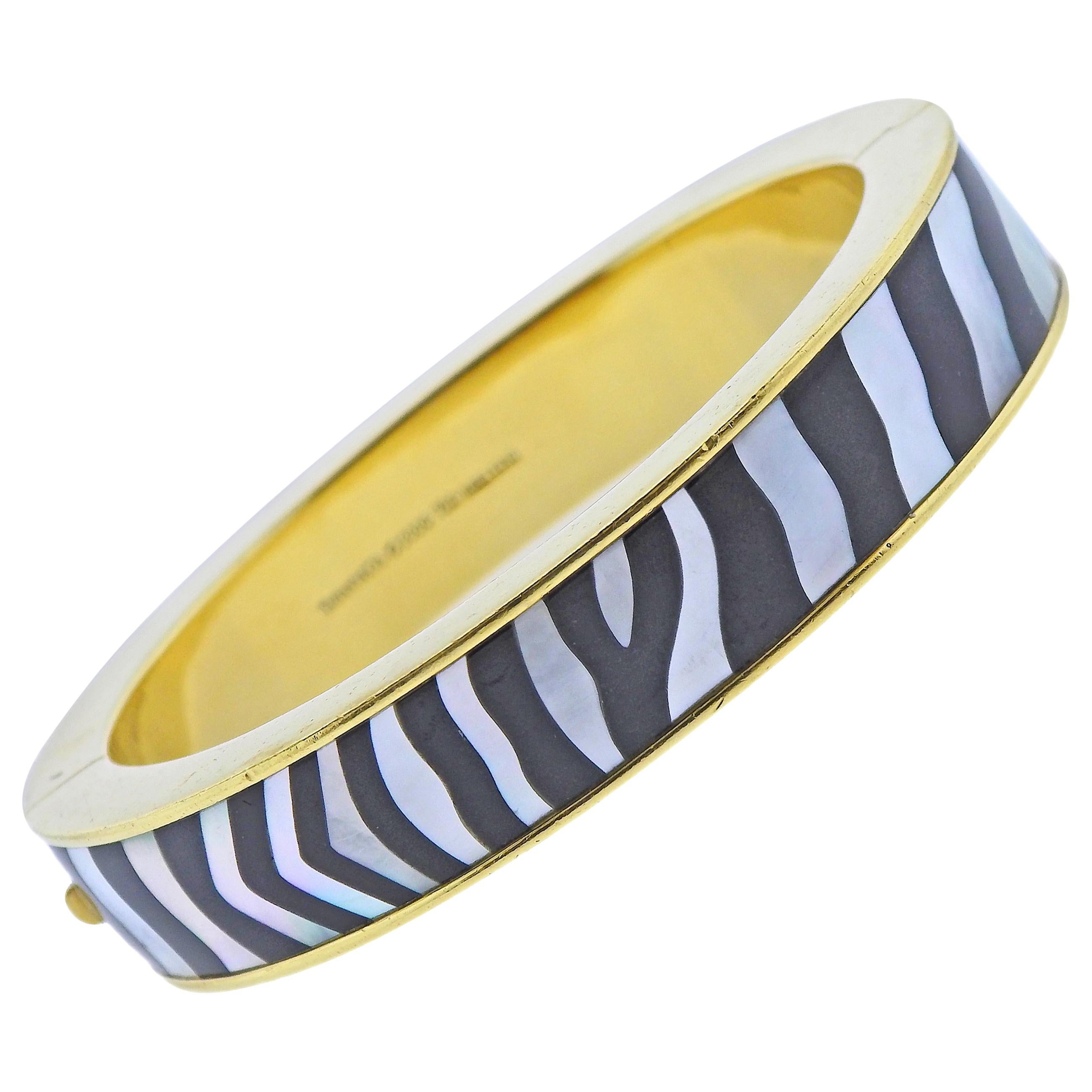 Tiffany & Co. Mother of Pearl Black Jade Inlay Zebra Gold Bracelet