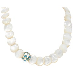 Tiffany & Co. Mother of Pearl Black Opal 18 Karat Gold Necklace