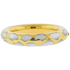 Tiffany & Co. Mother of Pearl Inlay Gold Bangle Bracelet