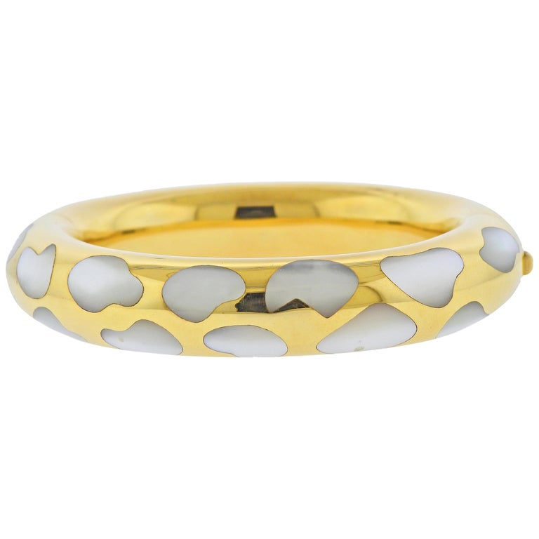 Tiffany & Co. Mother of Pearl Inlay Gold Bangle Bracelet For Sale