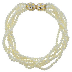 Tiffany & Co. Mother of Pearl Inlay Gold Positive Negative Torsade Necklace