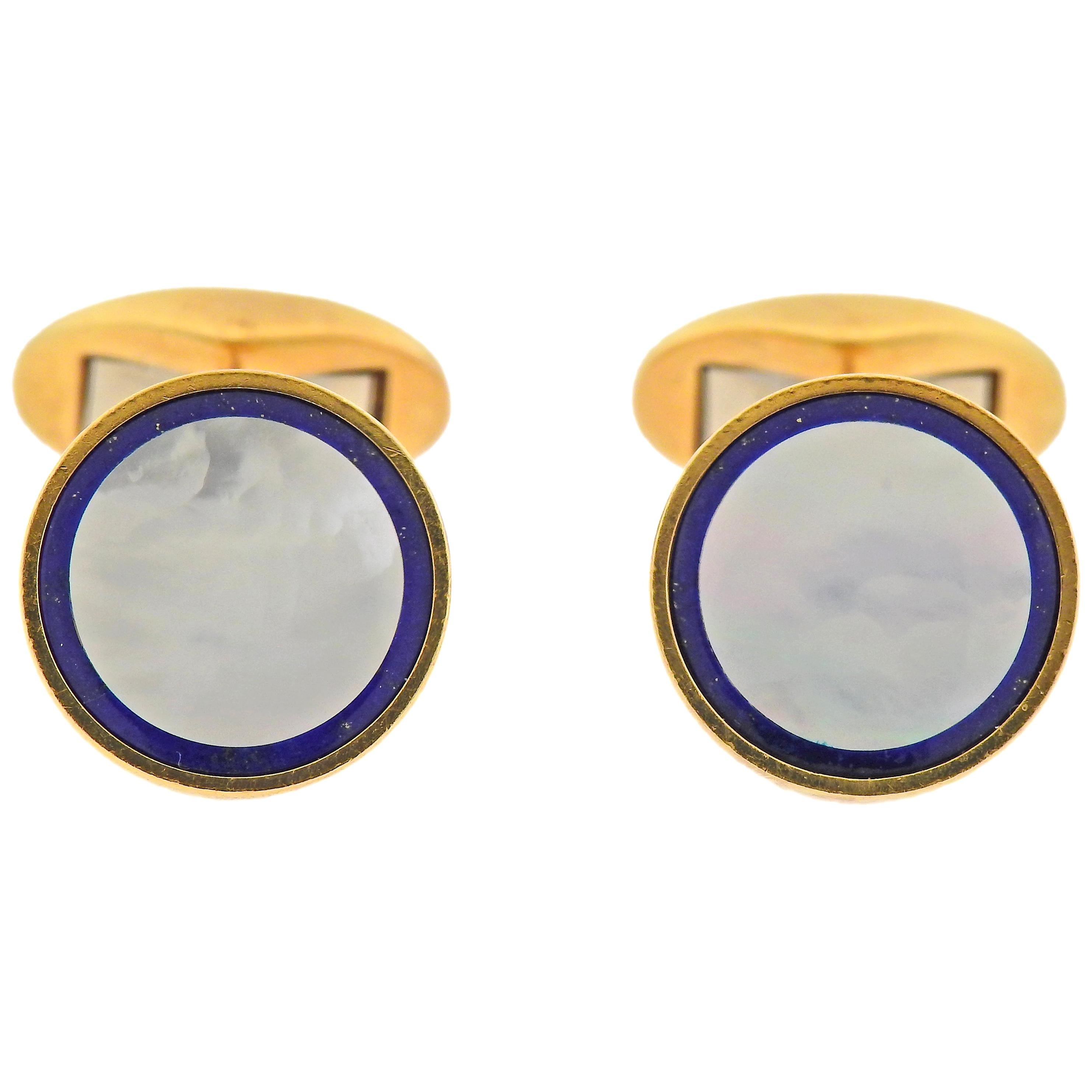 Tiffany & Co. Mother of Pearl Lapis Gold Cufflinks