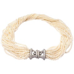 Tiffany & Co. Multi Strand Pearl Choker Necklace with Platinum and Diamond Clasp