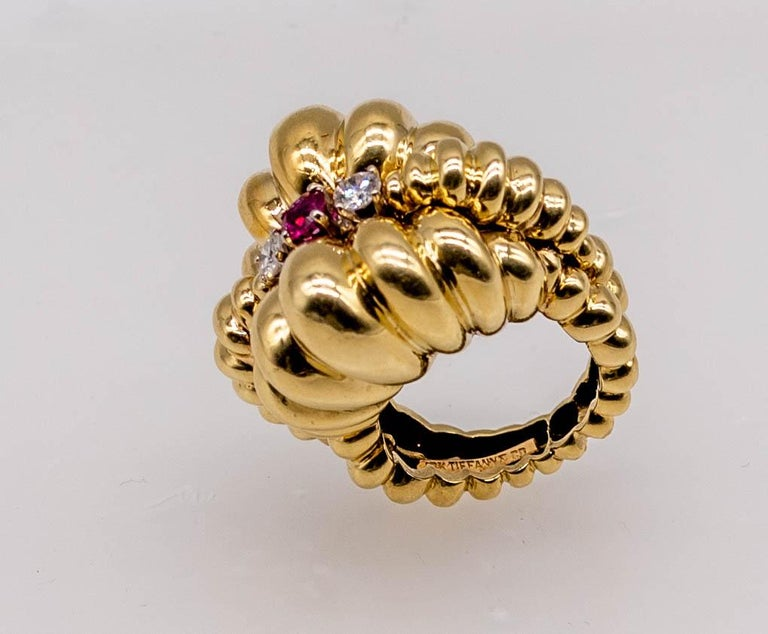 Tiffany & Co. Multi-Dome Gold Ruby Diamond Ring In Excellent Condition For Sale In New York, NY