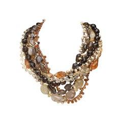 Tiffany & Co. Multistrand 18K Gold, Rutilated Quartz and Gem-Set Bead Necklace