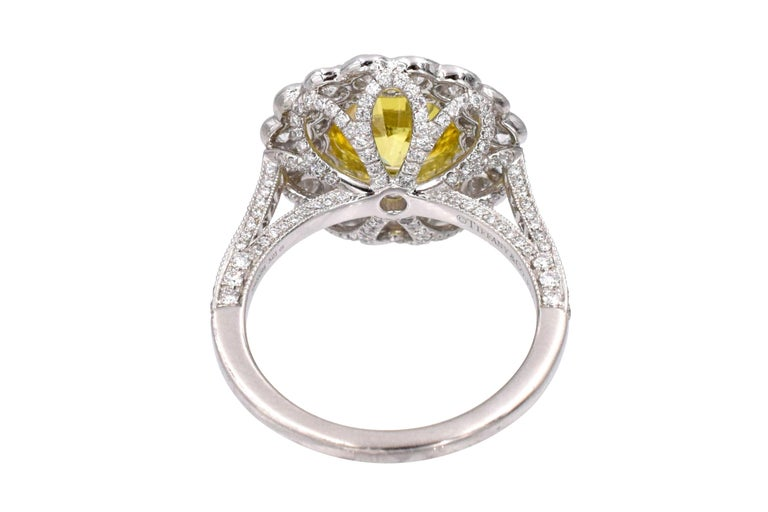 Round Cut Tiffany & Co. Natural Fancy Vivid Yellow Diamond Ring For Sale