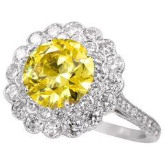 Tiffany & Co.  G.I.A. Fancy Vivid Yellow Diamond Ring