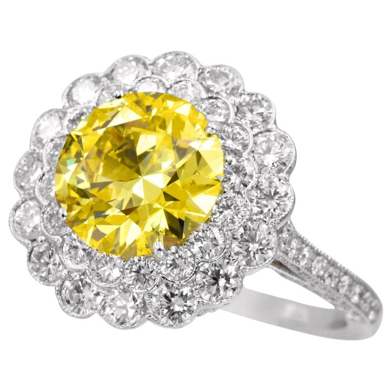 Tiffany & Co. Natural Fancy Vivid Yellow Diamond Ring For Sale
