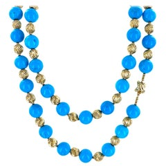 Tiffany & Co. Natural Turquoise Yellow Gold Bead Vintage Necklace