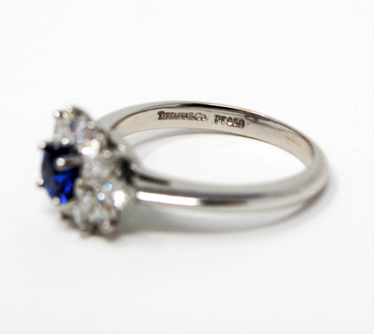 Tiffany & Co. Natural Untreated Sapphire and Diamond Halo Ring in Platinum For Sale 6