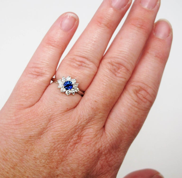 Round Cut Tiffany & Co. Natural Untreated Sapphire and Diamond Halo Ring in Platinum For Sale