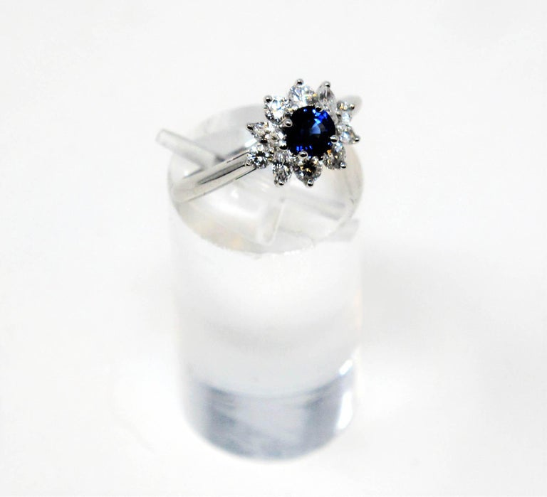 Tiffany & Co. Natural Untreated Sapphire and Diamond Halo Ring in Platinum In Excellent Condition For Sale In Scottsdale, AZ