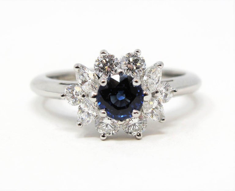 Women's Tiffany & Co. Natural Untreated Sapphire and Diamond Halo Ring in Platinum For Sale