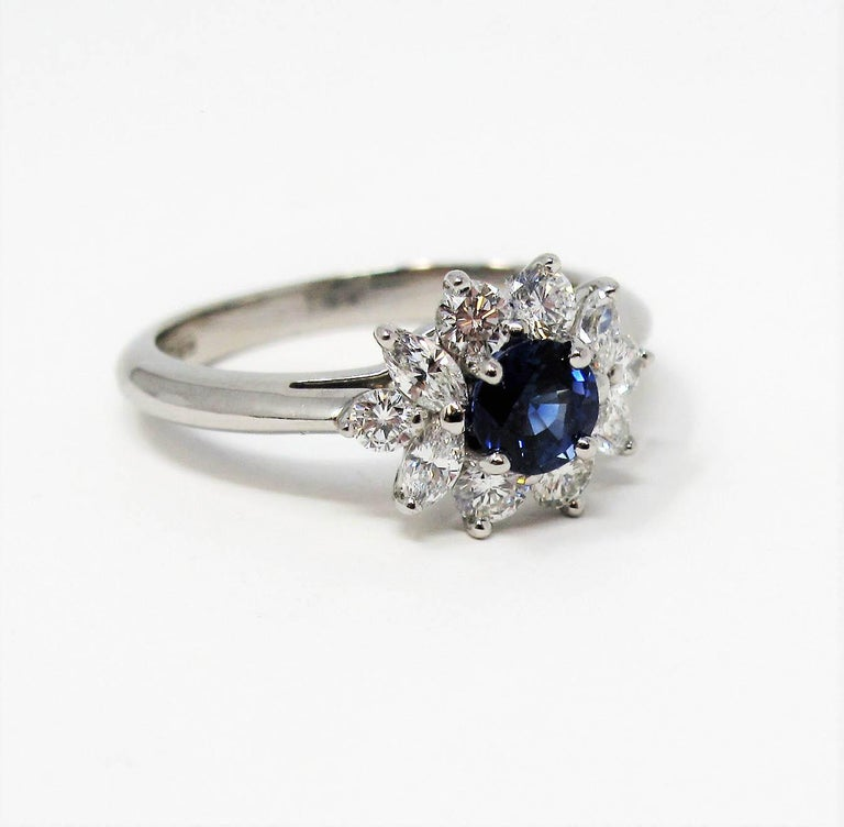 Tiffany & Co. Natural Untreated Sapphire and Diamond Halo Ring in Platinum For Sale 1