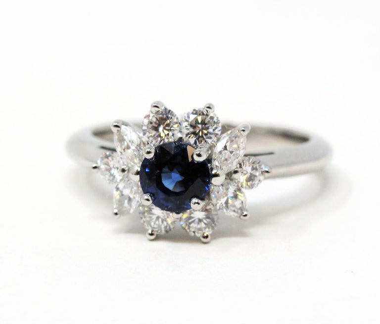 Tiffany & Co. Natural Untreated Sapphire and Diamond Halo Ring in Platinum For Sale 2