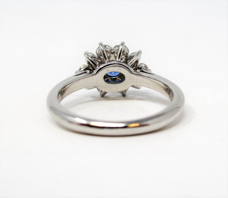 Tiffany & Co. Natural Untreated Sapphire and Diamond Halo Ring in Platinum For Sale 3