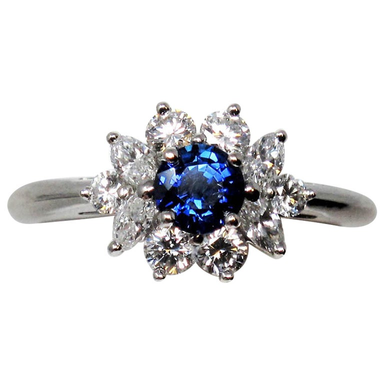 Tiffany & Co. Natural Untreated Sapphire and Diamond Halo Ring in Platinum For Sale