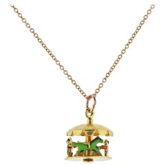 Tiffany & Co. Necklace with Enamel Carousel Pendant Charm