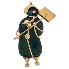 Tiffany & Co. Nephrite Jade 14 Karat Yellow Gold Vintage Snowman Brooch Pin