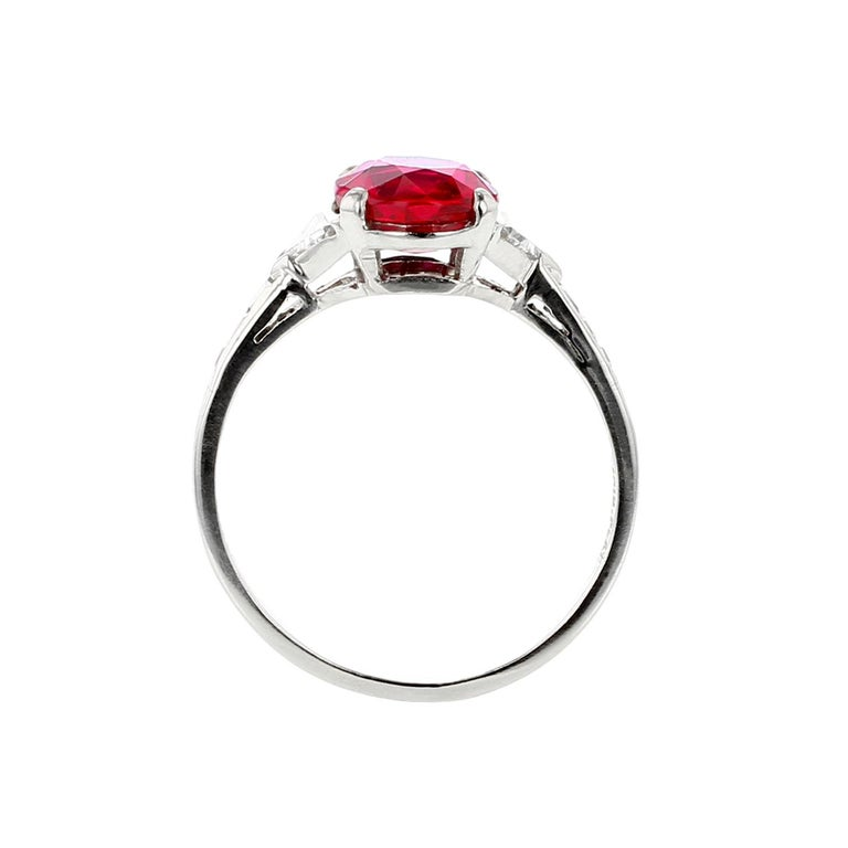 Oval Cut Tiffany & Co. No Heat Burma Ruby and Diamond Platinum Ring For Sale