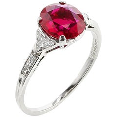 Tiffany & Co. No Heat Burma Ruby and Diamond Platinum Ring