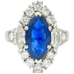 Tiffany & Co. No Heat Sapphire Diamond Platinum Navette Cluster Ring AGL