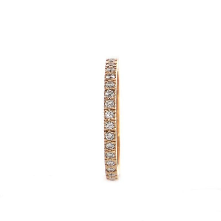Round Cut Tiffany & Co. Novo Band Ring 18k Rose Gold and Diamonds For Sale