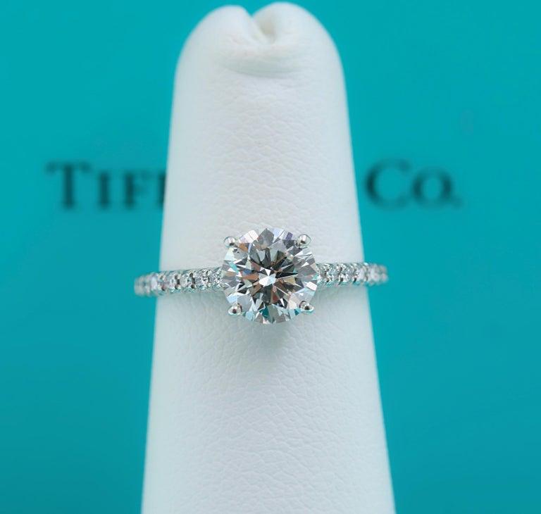 Round Cut Tiffany & Co. Novo Round Diamond Engagement Ring 1.21 Carat in Platinum For Sale