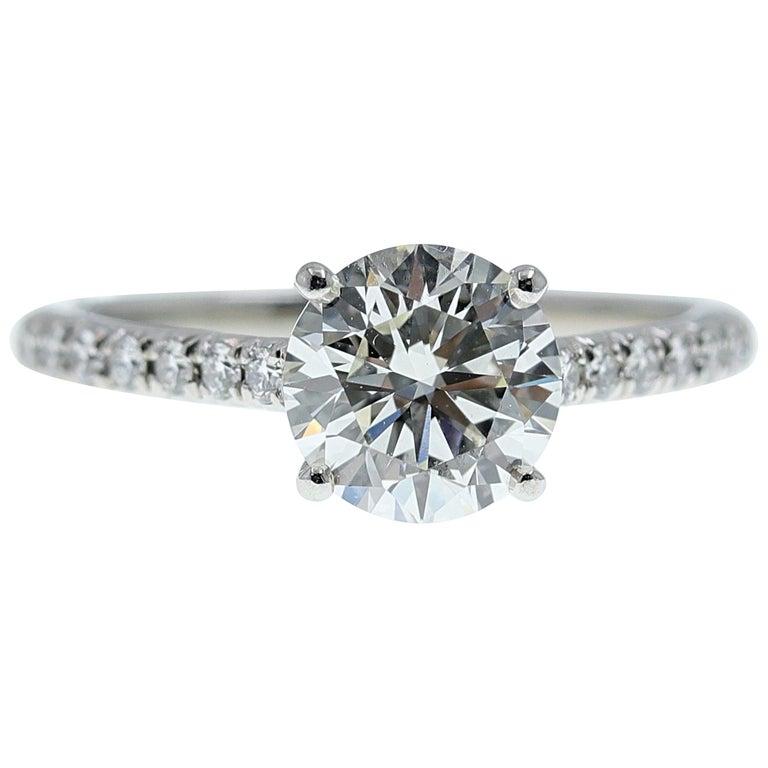 Tiffany & Co. Novo Round Diamond Engagement Ring 1.21 Carat in Platinum For Sale