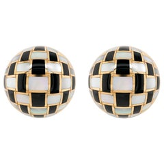 Tiffany & Co. Onyx and Mother of Pearl Checkerboard Earrings in 18 Karat Gold