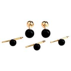 Tiffany & Co. Onyx Bead 14 Karat Yellow Gold Men's Tuxedo Cufflink Stud Set