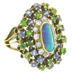 Tiffany & Co. Opal Yellow Gold Ring with Diamond Tanzanite and Peridot, 1960s