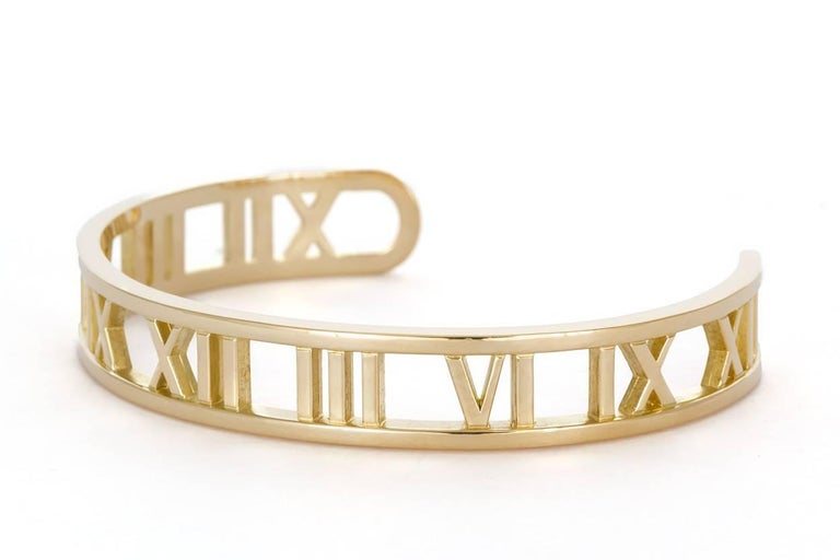 81851dbf3 Modern Tiffany & Co. Open Atlas Roman Numeral 18 Karat Yellow Gold Cuff  Bracelet For