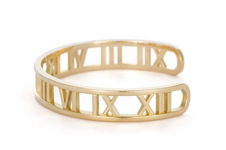 c8f7ed87e Tiffany & Co. Open Atlas Roman Numeral 18 Karat Yellow Gold Cuff Bracelet  In Excellent