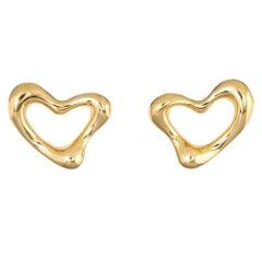 Tiffany & Co. Open Heart Earrings 18 Karat Gold Elsa Peretti Clip-On Jewelry