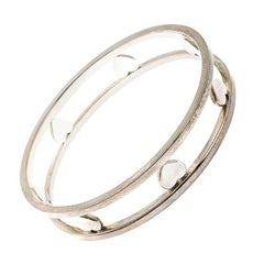 Tiffany & Co. Open Heart Silver Wide Bangle Bracelet