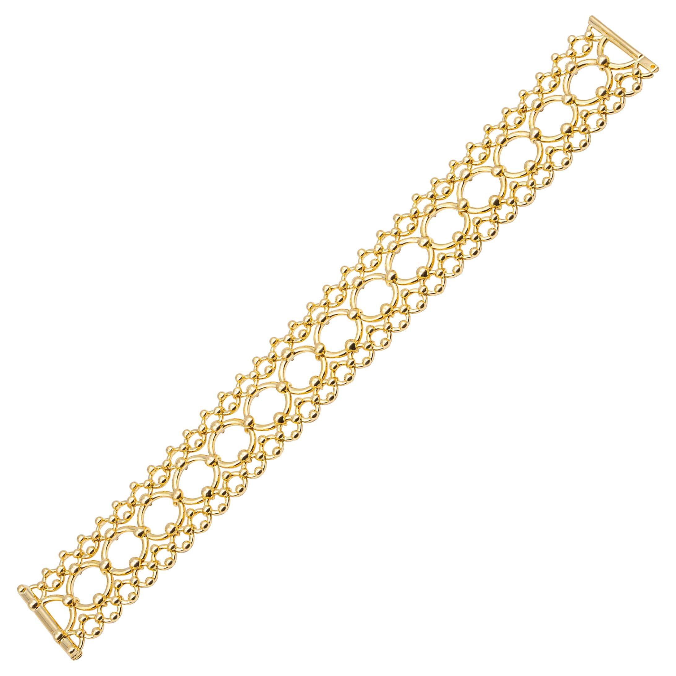 Tiffany & Co. Open Scroll Link Wide Bracelet Heavyweight 18K Yellow Gold